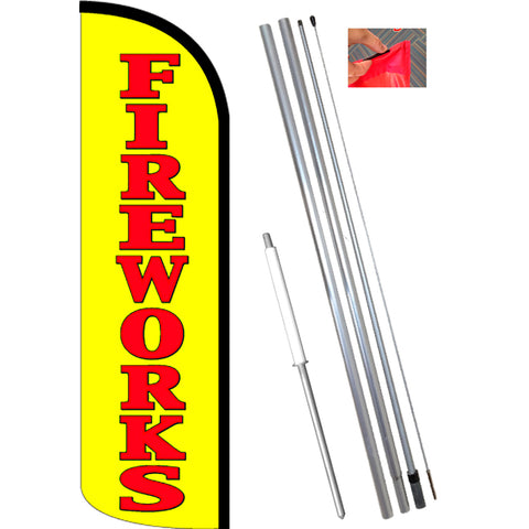 FIREWORKS (Yellow/Red) Windless Feather Banner Flag Kit (Flag, Pole, & Ground Mt)