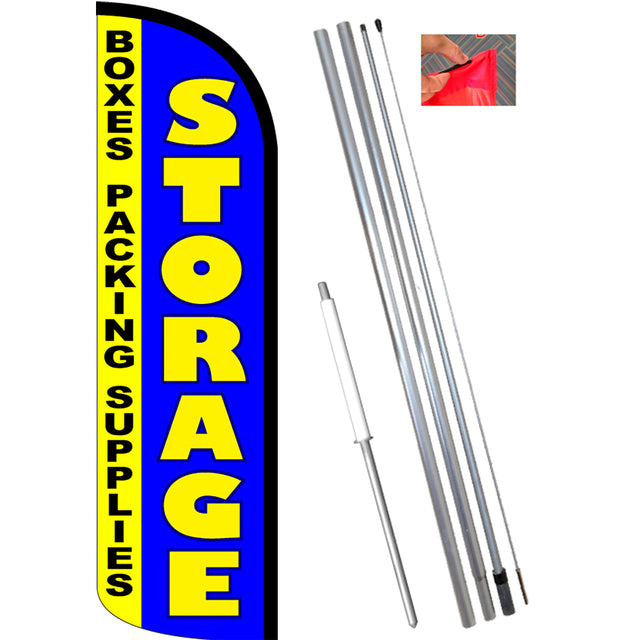 STORAGE - Boxes Packing Supplies Windless Feather Banner Flag Kit (Flag, Pole, & Ground Mt)