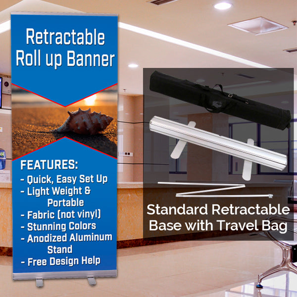 "Standard 33.5"" Retractable Banner Base with Custom Banner"