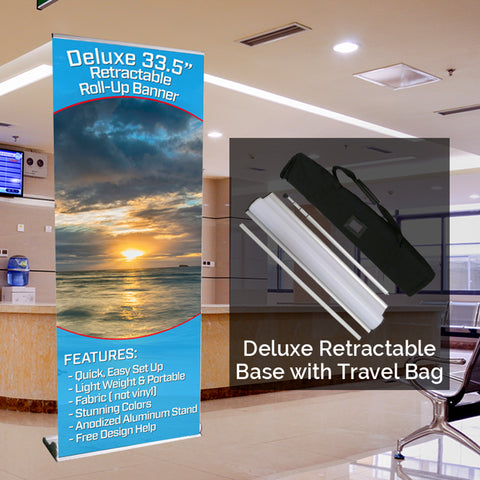 "Deluxe 33.5"" Retractable Banner Base with Custom Banner"