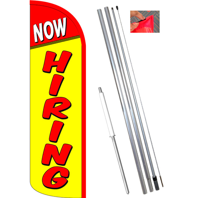 NOW HIRING (Yellow) Windless Feather Banner Flag Kit (Flag, Pole, & Ground Mt)
