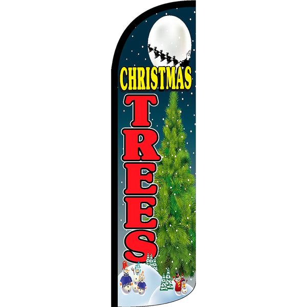 Christmas Trees Windless Polyknit Feather Flag with Bundle Option (3 x 11.5 Feet)