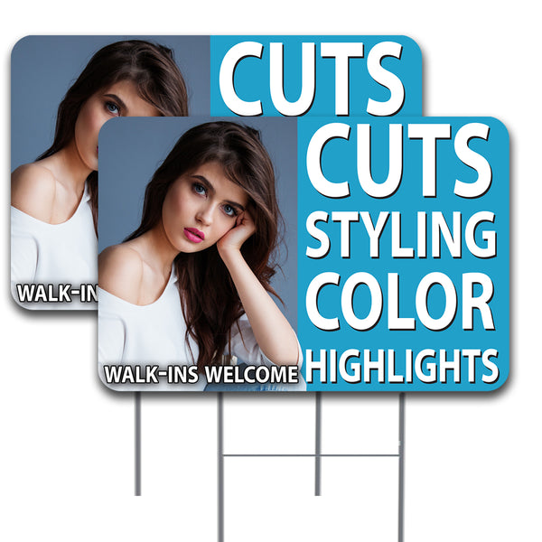 "HAIR SALON Cuts Styling Color Highlights 2 Pack Double-Sided Yard Signs 16"" x 24"" with Metal Stakes (Made in the USA)"