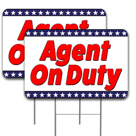 "AGENT ON DUTY 2 Pack Double-Sided Yard Signs 16"" x 24"" with Metal Stakes (Made in the USA)"