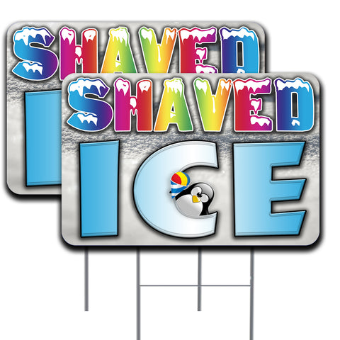 SHAVED ICE Two Pack 16x24 Inch Double-Sided Yard Signs with Metal Stakes (Made in the USA)