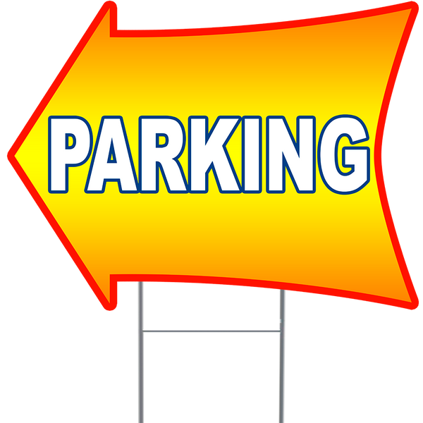 "PARKING 2 Sided Arrow Yard Sign 18"" x 24"" with Metal Sign Holder"