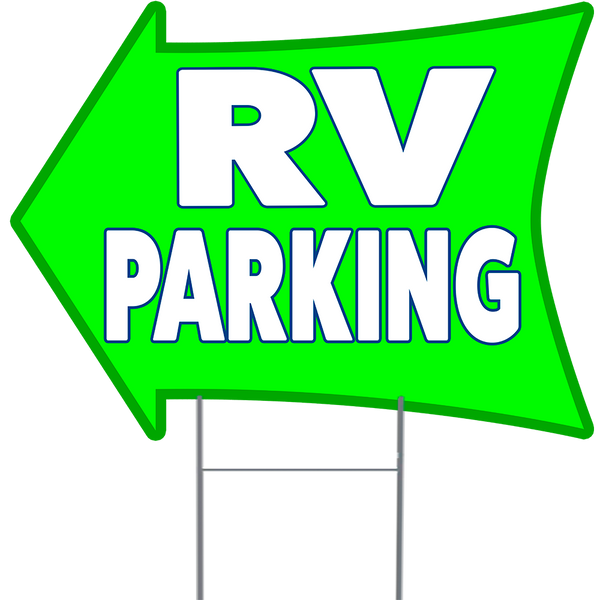 "RV PARKING 2 Sided Arrow Yard Sign 18"" x 24"" with Metal Sign Holder"