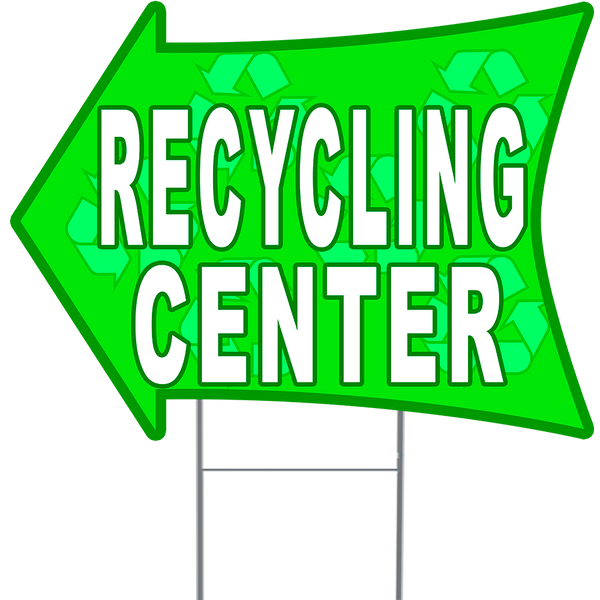 "RECYCLING CENTER 2 Sided Arrow Yard Sign 18"" x 24"" with Metal Sign Holder"