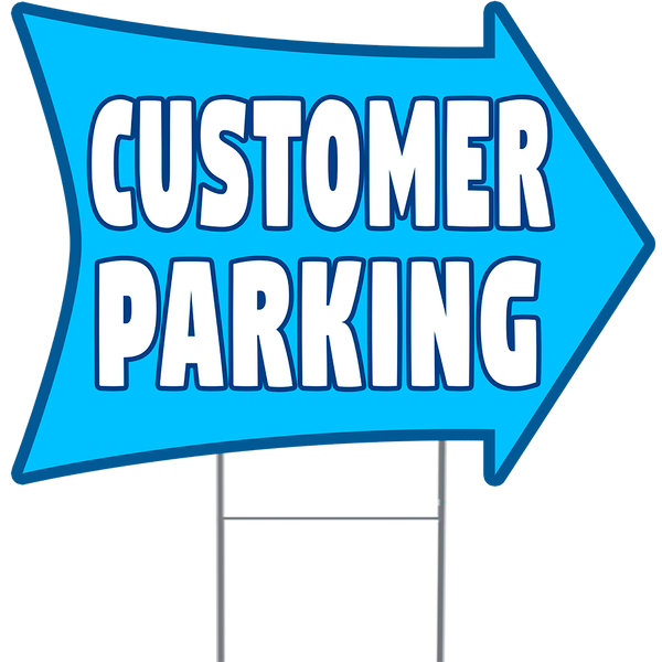 "CUSTOMER PARKING 2 Sided Arrow Yard Sign 18"" x 24"" Metal Sign Holder"