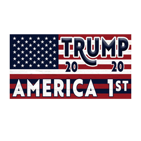 "Trump America 1st Vintage Wood Look 21"" x 40"" Magnetic Garage Banner For Steel Garage Doors (US MADE)"
