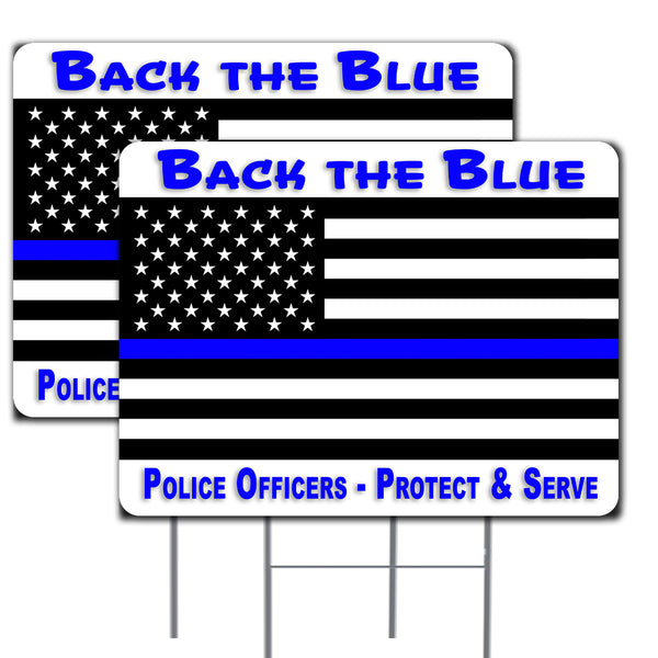 "Thin Blue Line Flag - Back the Blue 2 Pack Double-Sided Yard Signs 16"" x 24"" with Metal Stakes (Made in the USA)"