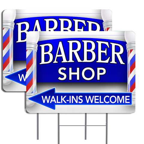 BARBER SHOP (Arrow) 16x24 Inch Sign Two Pack (Double-Sided) Made in the USA