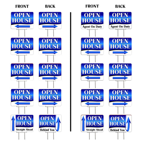 "Open House Directional Arrows (Blue) 10 Pack Yard Signs - Each is 24"" x 18"" and comes with a Heavy Duty (Reusable) Step-Stake"