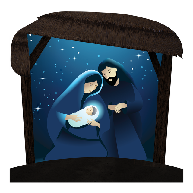 "Outdoor Nativity Set - Holy Night with Caption Options  45"" x 45"" with Stand"