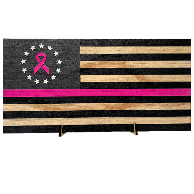 Breast Cancer Awareness US Flag (Betsy Ross) Pattern Wood Flag with Living Hinge Stand* with Size Options