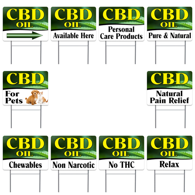"CBD OIL 10 Pack Yard Sign - Each is 24"" x 18"" and come with Metal Stake - Set 1"