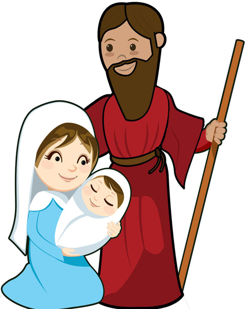 "Outdoor Nativity Set - Mary, Joseph, Jesus (Only) 30"" x 40"" with Stand"