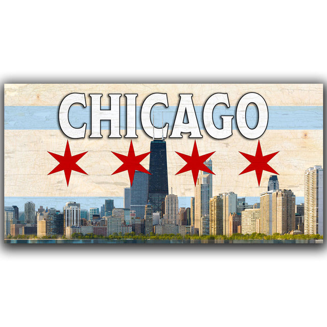 Chicago Skyline on a Chicago City Flag Pattern Wood Flag with Living Hinge Stand & Size Options