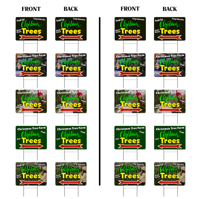 "Christmas Trees (Arrow) 10 Pack Yard Signs - Each is 24"" x 18"" and come with Metal Stake Set 1"