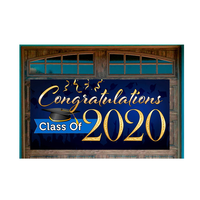"Congratulations Class Of 2020 (Blue) Magnetic 42"" x 84"" Garage Banner For Steel Garage Doors"