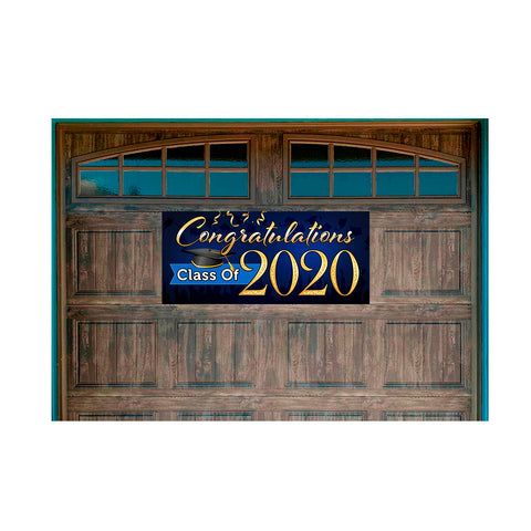 "Congratulations Class Of 2020 (Blue) Magnetic 21"" x 47"" Garage Banner For Steel Garage Doors"