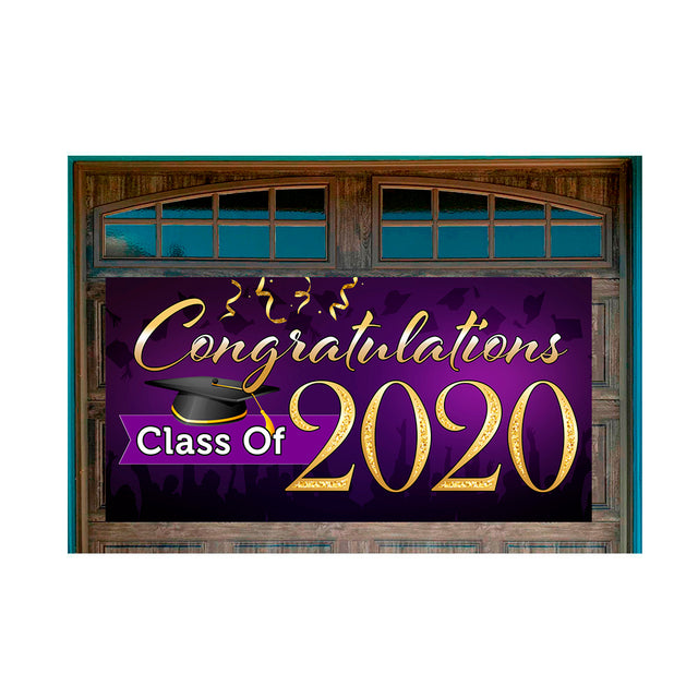 "Congratulations Class Of 2020 (Purple) Magnetic 42"" x 84"" Garage Banner For Steel Garage Doors"