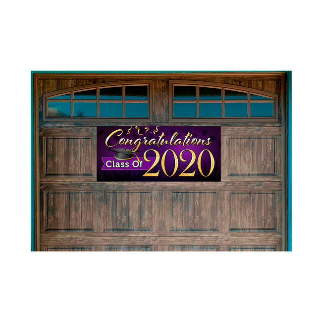 "Congratulations Class Of 2020 (Purple) Magnetic 21"" x 47"" Garage Banner For Steel Garage Doors"