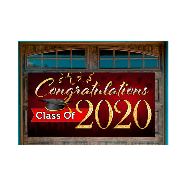 "Congratulations Class Of 2020 (Red) Magnetic 42"" x 84"" Garage Banner For Steel Garage Doors"