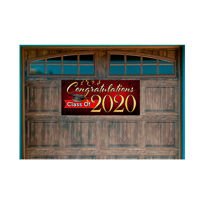 "Congratulations Class Of 2020 (Red) Magnetic 21"" x 47"" Garage Banner For Steel Garage Doors"