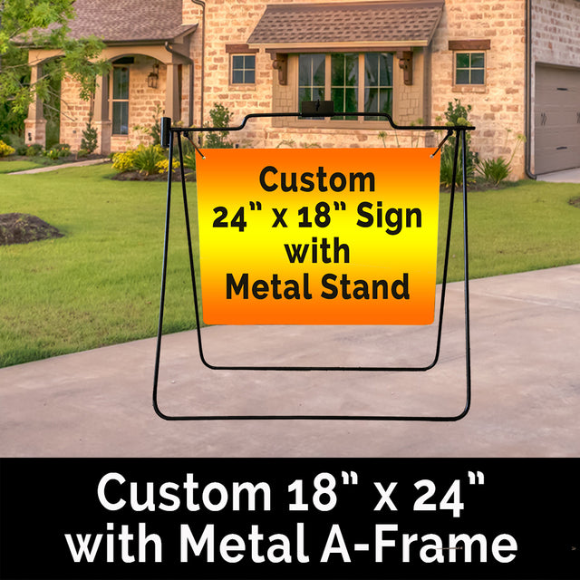 "Metal A-Frame with option for Custom 24"" x 18"" Sign"