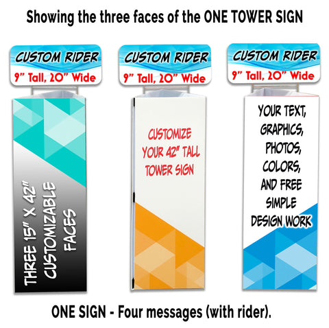 "CUSTOM Triangle 42"" Tower Sign Kit with Three 15"" Faces, Rider, Connector & Sand Bag Weight"