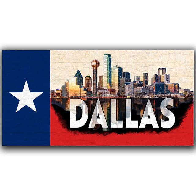Dallas Skyline on a Texas Flag Pattern Wood Flag with *Living Hinge Stand - Size Options