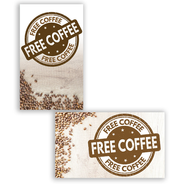 "2 Pack FREE COFFEE Perforated Window Decal 9"" x 15"" each (Removable)"