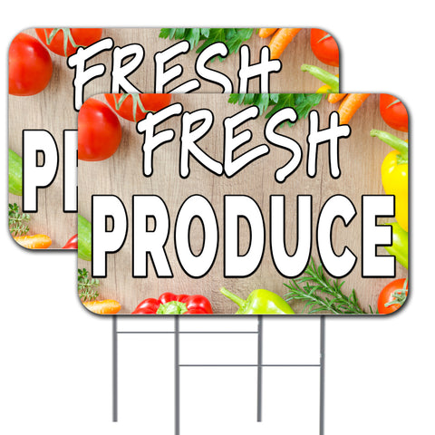 "Fresh Produce 2 Pack Double-Sided Yard Signs 16"" x 24"" with Metal Stakes (Made in the USA)"