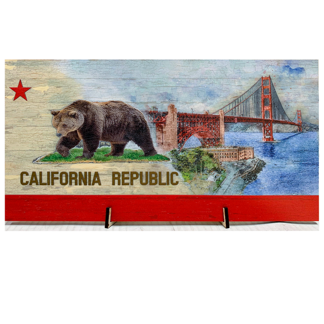 Golden Gate Bridge image on a California Flag Pattern Wood Flag with *Living Hinge Stand with Size Options