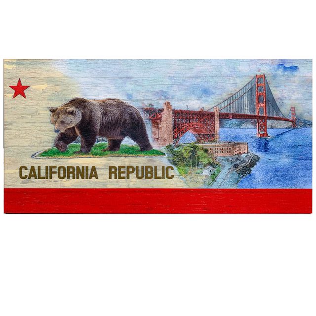 "Golden Gate Bridge image on a California Flag Pattern Embossed Print on Wood (2.5D Wood Flag)) 24"" x 48"""