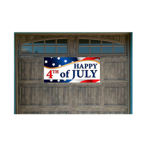 "Happy 4th of July Magnetic 21"" x 47"" Garage Banner For Steel Garage Doors"