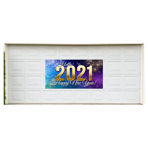 "Hello 2021 Happy New Year! Magnetic 42"" x 84"" Garage Banner For Steel Garage Doors"