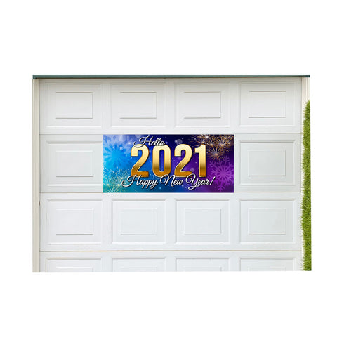 "Hello 2021 Happy New Year! Magnetic 21"" x 47"" Garage Banner For Steel Garage Doors"