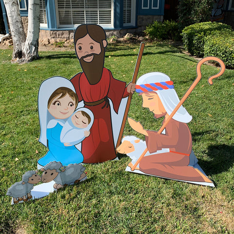 Outdoor Nativity/Creche Set - 9 pieces, Holy Family, Wise Men, Shepherds, Animals