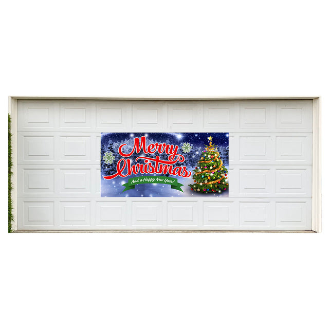 "Merry Christmas Magnetic 42"" x 84"" Garage Banner For Steel Garage Doors"