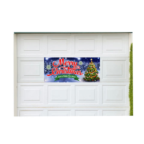 "Merry Christmas Magnetic 21"" x 47"" Garage Banner For Steel Garage Doors"