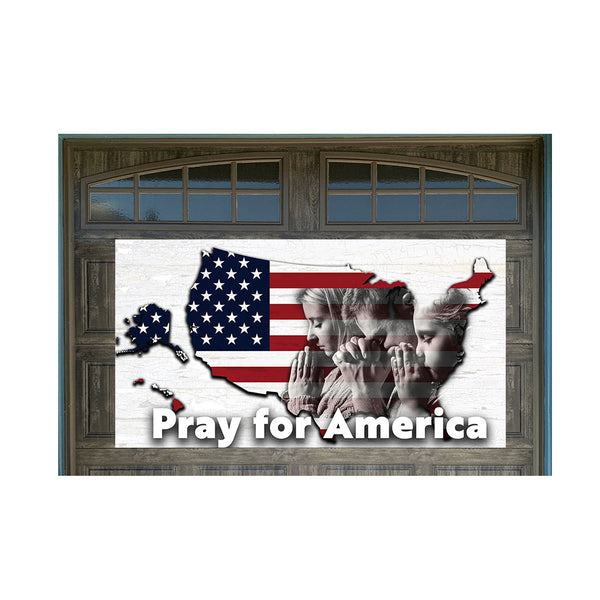 "Pray For America US Flag Map 42"" x 78"" Magnetic Garage Banner For Steel Garage Doors (US MADE)"