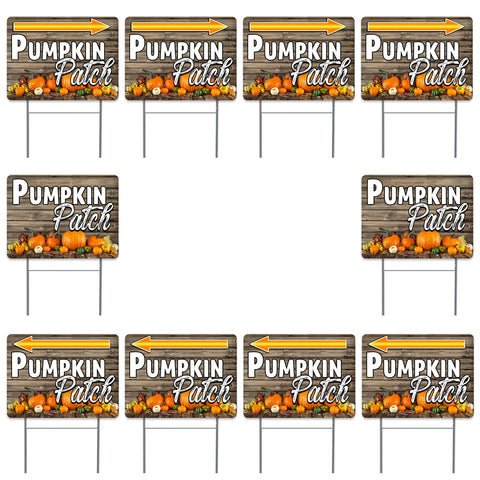 "Pumpkin Patch 10 Pack Yard Signs - Each is 24"" x 18"" and come with Metal Stake"