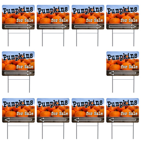"Pumpkins for Sale Arrow 10 Pack Yard Signs - Each is 24"" x 18"" and come with Metal Stake"