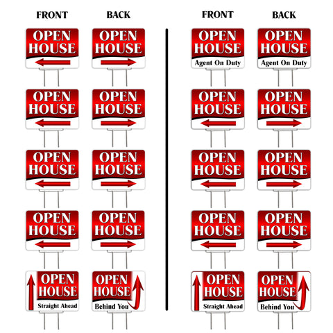 "Open House Directional Arrows (Red) 10 Pack Yard Signs - Each is 24"" x 18"" and comes with a Heavy Duty (Reusable) Step-Stake"