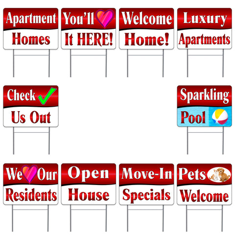 "APARTMENT LEASING Supporting Red 10 Pack Yard Sign - Each is 24"" x 18"" and come with Metal Stake - Set 2"