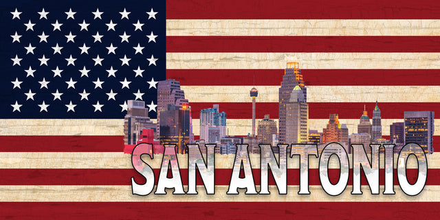 San Antonio Skyline on a US Flag Pattern Wood Flag with *Living Hinge Stand & Size Options