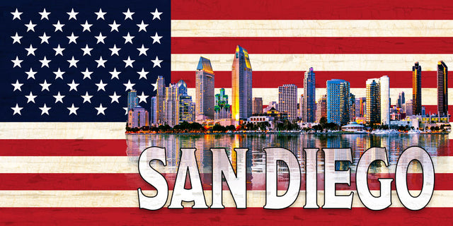 San Diego Skyline on a US Flag Pattern Wood Flag with *Living Hinge Stand & Size Options