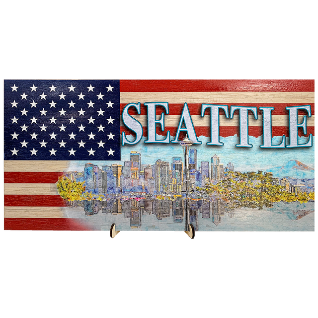 Seattle Skyline on a US Flag Pattern Wood Flag with *Living Hinge Stand & Size Options